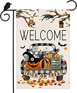 Welcome Halloween Garden Flag, Spooky Buffalo Plaid Check Truck Pumpkin Porch Sign 12×18 Double Sided Withered Tree Bat Outdoor Decorations Autumn Thanksgiving Decor for Harvest Holiday Farmhouse