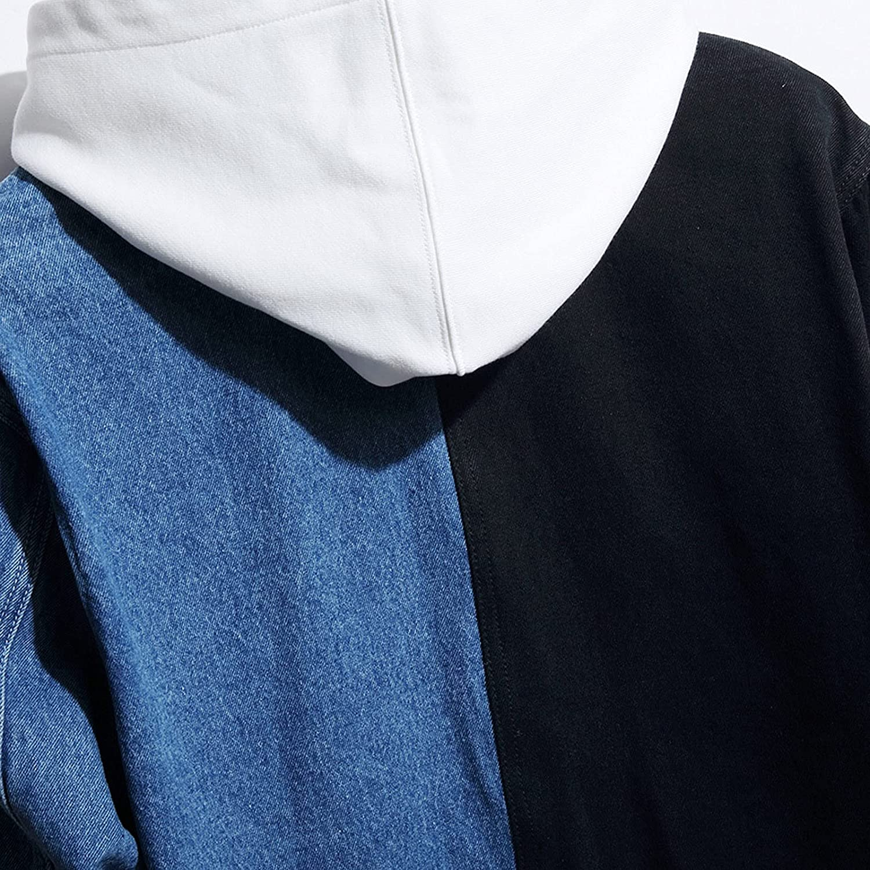 Men's Loose Full Sleeve All-Match Denim Jacket Casual Color Block Streetwear Coat Outerwear Men Motorcycle Denim Jacket