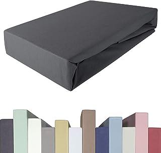 Drap-housse 200 x 220 à 220 x 240 à 40 cm de hauteur   Qualité supérieure   Jersey de coton avec 5 % élasthanne   Pour lit...