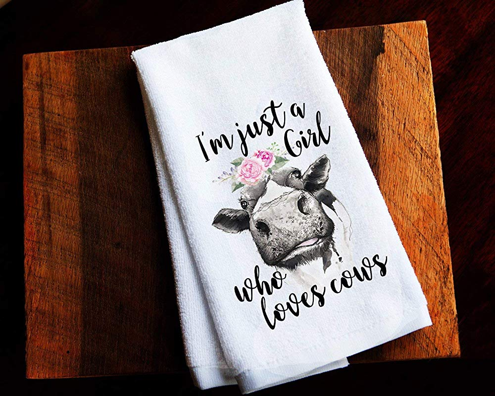 Just A Girl Who Loves Cows Kitchen Towel Gift For Her