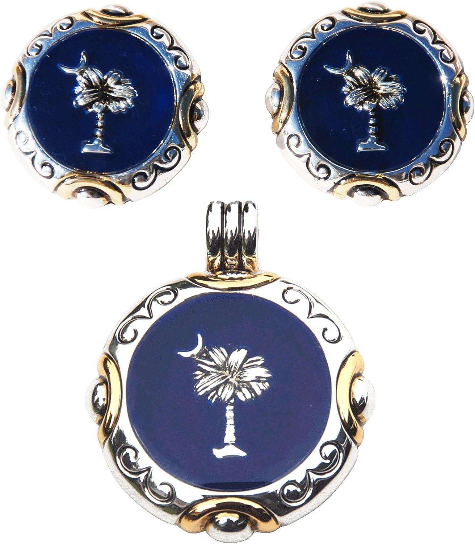 2 Tone Lead-Free Round Palmetto Moon Topics on TV M Blue Earrings Regular discount w Dark Post
