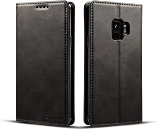 Samsung Galaxy S9 Wallet Case, TACOO Genuine Leather 360 Protection Card Holder Kickstand Magnetic Protective Cover for Samsung Galaxy S9 2018-Black