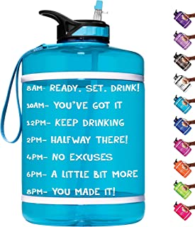 HydroMATE 1 Gallon Motivational Water Bottle with Time Marker Large BPA Free Jug with Straw & Handle Reusable Leak Proof Bottle Time Marked Hydro MATE One Gallon 128 oz