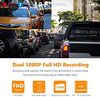 "Z-Edge Dual Dash Cam 4.0"" Touch Screen Front and Rear Dash Cam FHD 1080P with Night Mode, 32GB Card Included,155 Degr..."
