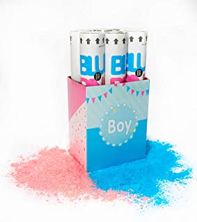 6 Piece TUR Party Supplies Authentic Gender Reveal Giant Powder Popper (12 Inch) in Decorative Box - for Gender Reveal Party, Fun for Family (Powder Only)