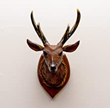 "G6 COLLECTION 14"" Deer Wall Hanging Decor Head Sculpture Art Decorative Home Decor Accent Lodge Wooden Handmade Figurine H..."