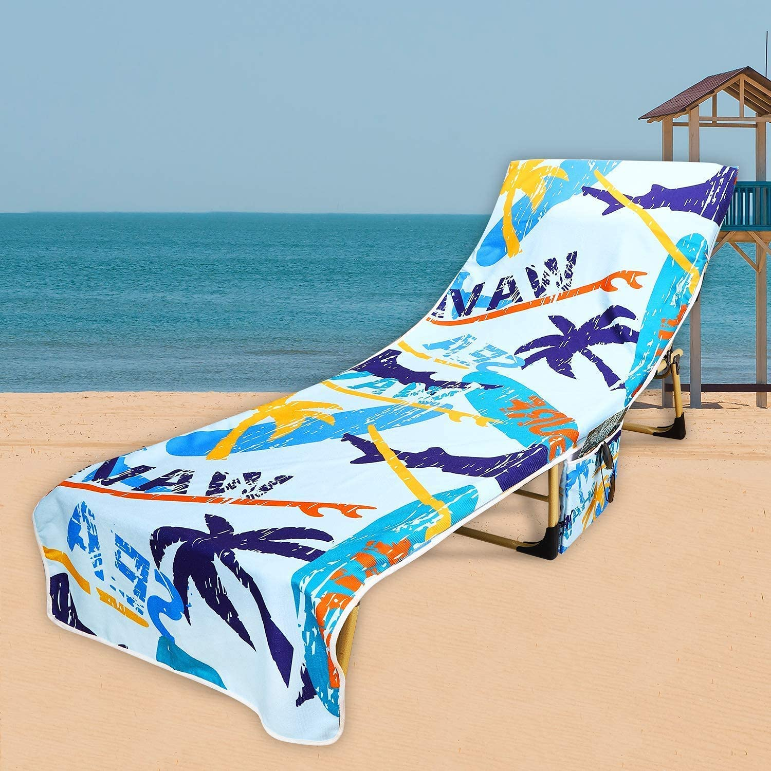 Beach Chair Cover with Pockets Lounge Chaise T Microfiber Daily Baltimore Mall bargain sale