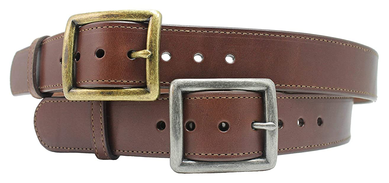 Handmade Heavy Duty Dark Brown Leather Belt 1-1/2