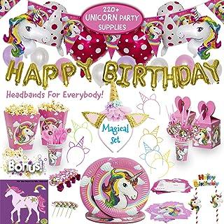 Imagines Complete Unicorn Party Supplies - 220+ Piece Rainbow Girls Birthday Supplies Pack with Unicorn Balloons, Headband...