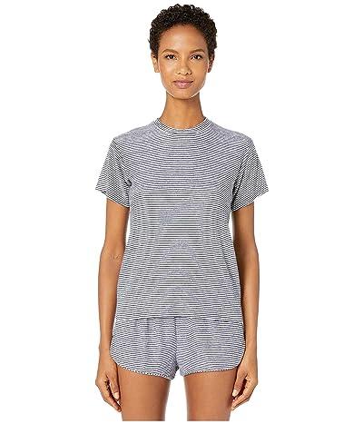 Maison Du Soir Luca T-Shirt (Navy Stripe Rib) Women