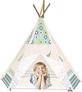 Achoka tält tipi ritning fjäder med botten av polyester blå beige 120 x 120 x 150 set för barn från 0 till 7 år kreativa l...