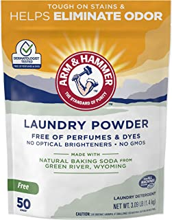 ARM & HAMMER Laundry Powder (50 Loads/1 Pack)—Fragrance-Free, Dye-Free Formula Made with Natural Baking Soda Helps Eliminate Odors and Remove Stains