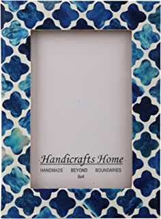 Handicrafts Home Picture Photo Frame Indigo Moorish Quatrefoil Handmade Naturals Bone Frames from Photo Size 4x6 (Indigo-2)