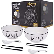 Ramen Bowls and Spoons Set of 2 (6 Piece) With Chopsticks, Large 50 Ounce Porcelain Soup Bowl for Miso, Pho, Chow Mein Noo...