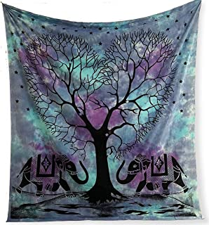 Plush Decor Large Blue Tapestry Tie dye Purple Tapestries Hippie Indian Elephant Tree Wall Hanging Hippy Beach Blanket Bohemian Coverlet Boho Queen Bedspread