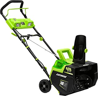 Earthwise SN74018 Cordless Electric 40-Volt 4Ah Brushless Motor, 18-Inch Snow Thrower,..