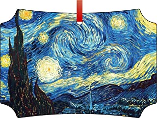 Rosie Parker Inc. Van Gogh's Starry Night-TM Double-Sided Berlin Aluminum Holiday Hanging Tree Ornament. Made in The USA!