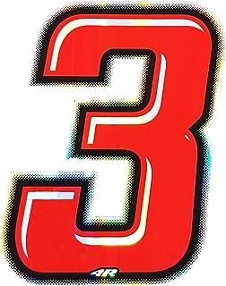 4R Quattroerre.it 13263 Startnummer 3 Aufkleber für Motorräder, Rot, 10 x 6.5 cm