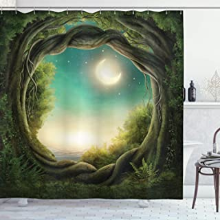 Ambesonne Trees Shower Curtain, Trees in Enchanted Forest Full Moon Artwork Girls Boys and Family, Cloth Fabric Bathroom Decor Set with Hooks, 75