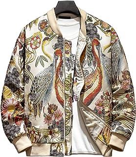 HOOD CREW Men's Embroidery Zip-Up Stand Collar Casual Bomber Jacket