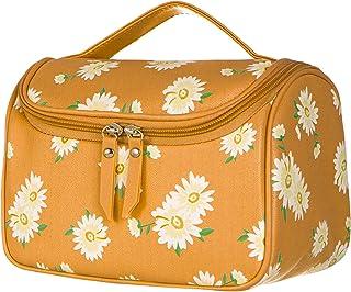 کیف آرایش NUDE ، کیف لوازم آرایشی برای خانمها آرایش بزرگ برای حمل آسان کیف ساحلی ، ظرفیت بالا برای برس های آرایشی کیف مسافرتی (زرد)