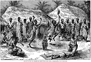 Africa Medicine Man Nan African Medicine Man Center Reciting An Incantation Over The Sick Wood Engraving 19Th Century Post...
