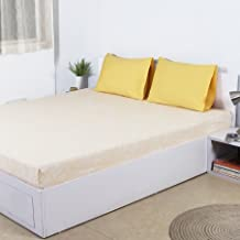 House This Ditsy Marigold Cotton King Bedsheet with 2 Pillow Covers- 274x274, Yellow
