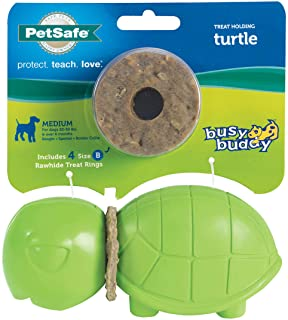 PetSafe Busy Buddy Animal Treat Ring Dog Toy – Chew Toy for Dogs – Medium Turtle
