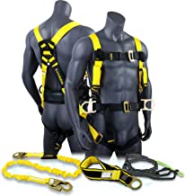 KwikSafety (Charlotte, NC) HURRICANE KIT   3D Full Body Back Support Safety Harness, 6' Lanyard, 3' Anchor ANSI OSHA PPE Fall Protection Arrest Restraint Equipment Universal Construction Roofer Bucket