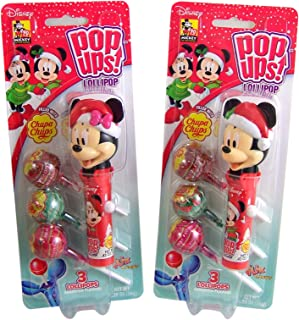 Christmas Minnie and Mickey Mouse Pop Ups With 3 Chupa Chups Lollipops, Pack of 2