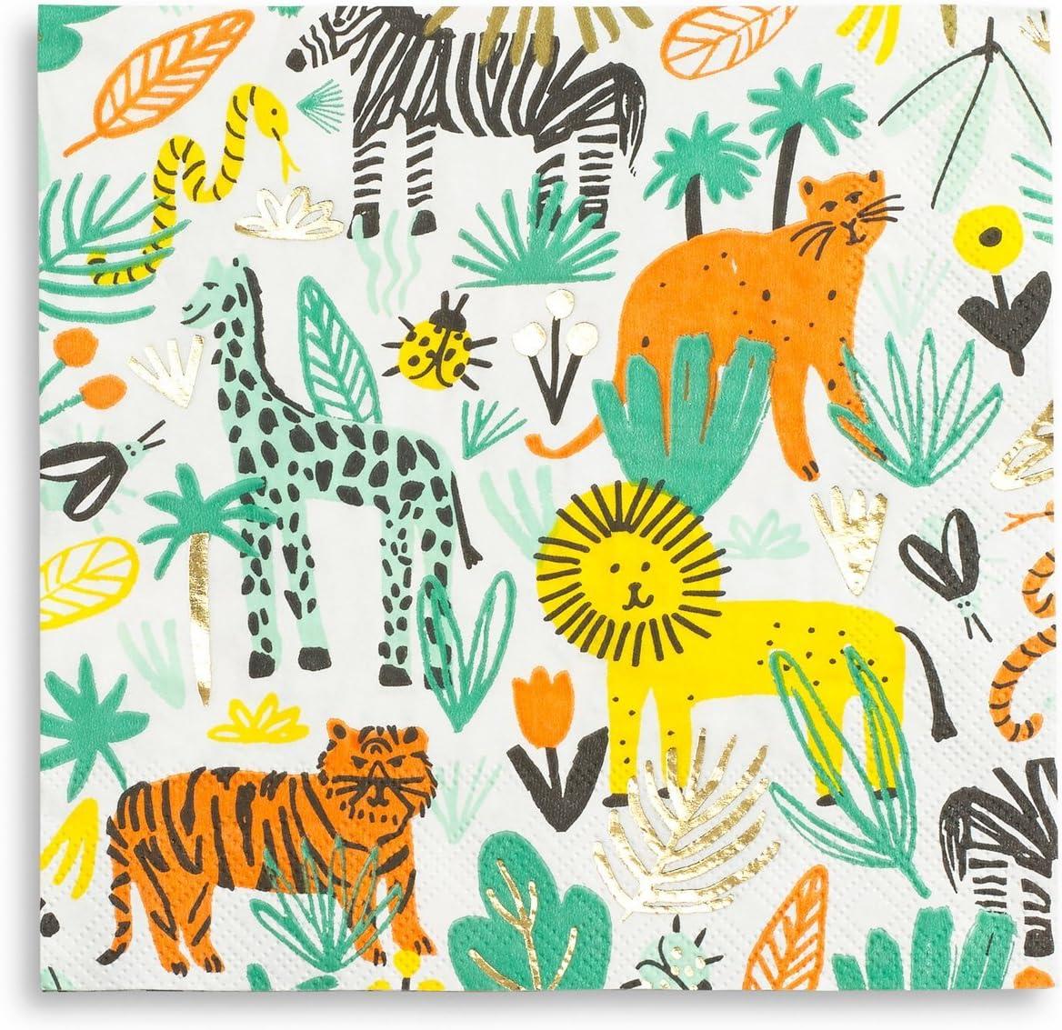 Jungle Frolic Wild Safari Animals Kids Birthday Party Paper Luncheon Napkins