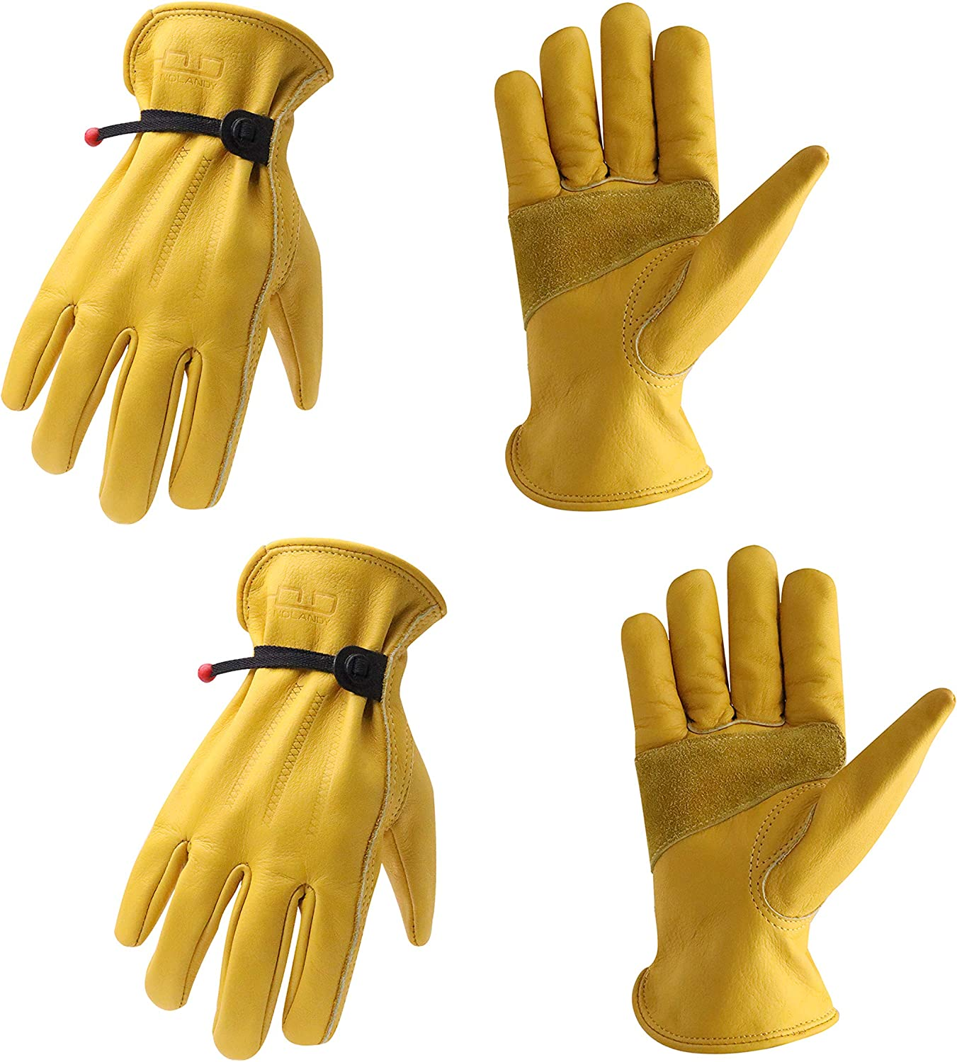 2 Pairs Cowhide Leather Luxury goods Work Gloves Reinforced for Palm Men Popular brand in the world with