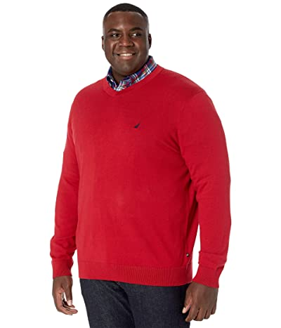 Nautica Big & Tall Big Tall Sweater V-Neck (Nautica Red) Men