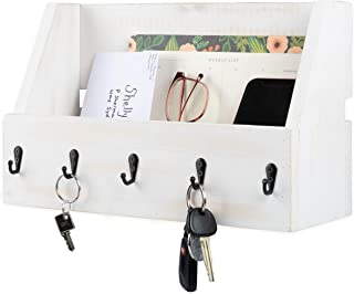 Key and Mail Holder for Wall - Wooden Wall Mount Mail Organizer & Key Rack - Rustic White Wood with Black Metal Hooks, Decorative