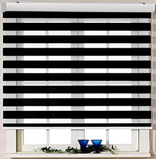 Foiresoft Custom Cut to Size, [Winsharp Basic, Black,W 51 x H 64 inch] Zebra Roller Blinds, Dual Layer Shades, Sheer or Privacy Light Control, Day and Night Window Drapes, 20 to 110 inch Wide