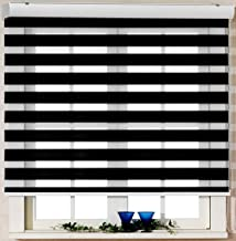 Foiresoft Custom Cut to Size, [Winsharp Basic, Black,W 47 x H 47 inch] Zebra Roller Blinds, Dual Layer Shades, Sheer or Privacy Light Control, Day and Night Window Drapes, 20 to 110 inch Wide