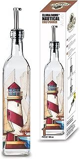 Ellora Farms | Atlas Chef Pourer | Oil & Vinegar large glass dispenser | Lighthouse Painted | Suitable for Olive Oil, Vinegar, Balsamic Salad dressing, Wine | Large 17 Oz. Glass Bottle in Box