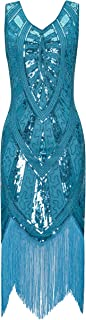 1920s Inspired Fringe Embellished Gatsby Flapper Midi Dress Prom Party