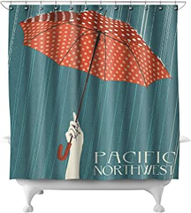 Pacific Northwest, Washington - Umbrella Letterpress 46748 (74x74 Polyester Shower Curtain)