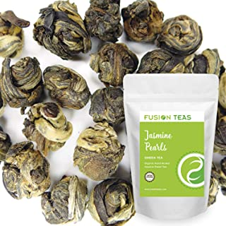 Organic Jasmine Pearls Green Tea - Gourmet Floral Scented Chinese Loose Leaf Tea - 5 Oz. Pouch