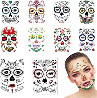 KSNOW 10 Pack Day of The Dead Halloween Face Tattoo Sticker Glitter Red Roses Sugar Skull Temporary Tattoo for Halloween, Masquerade and Parties