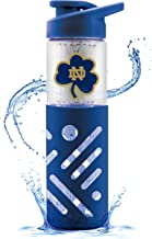Duck House Univ of Notre Dame Glass Water Bottle W Silicon Protector Sleeve 23 Oz