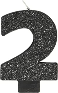 Amscan Black #2 Birthday Glitter Numeral Candle Children's Party Favor Sets, Metallic Black