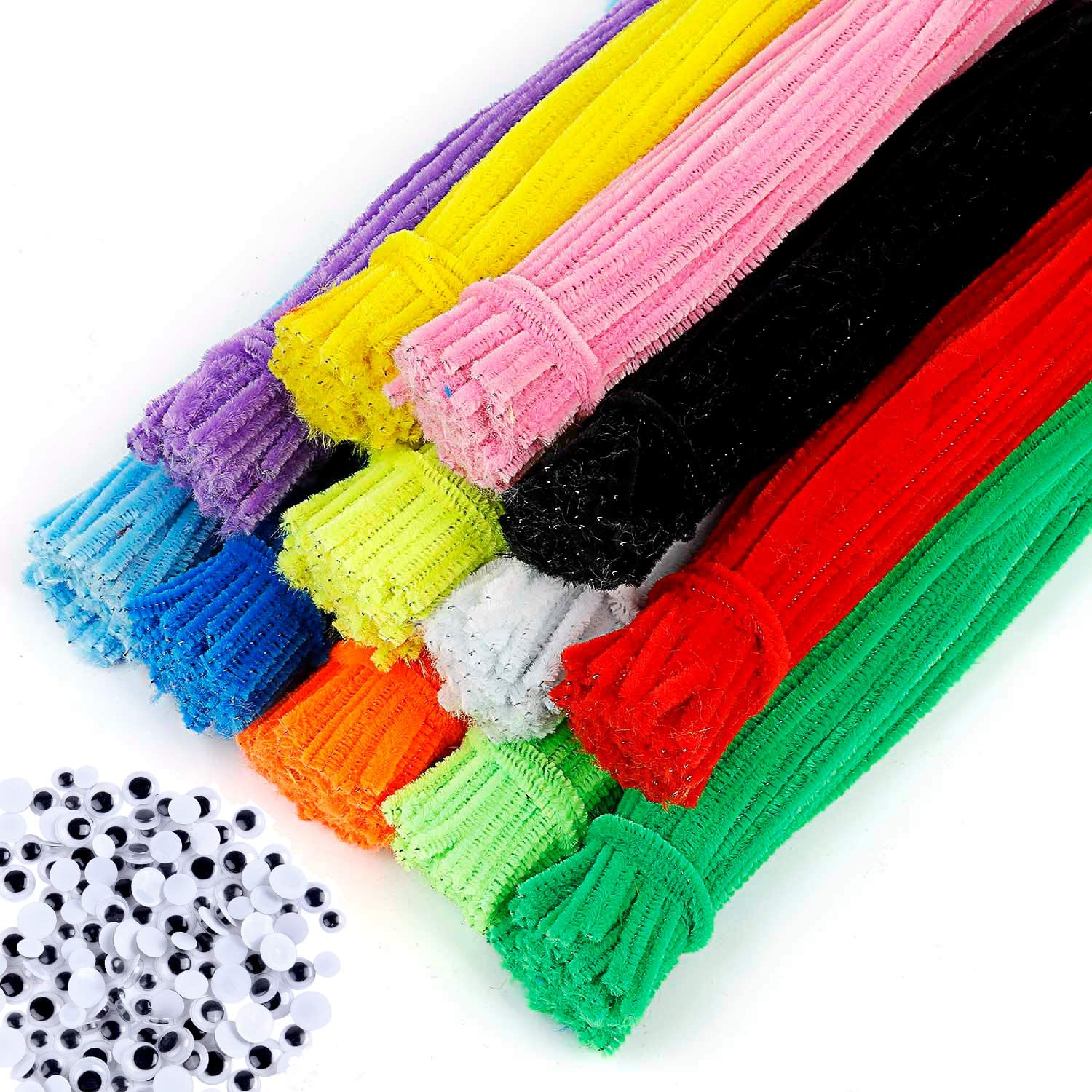 EpiqueOne 1090 Piece Kids Art Craft Supplies Assortment Set for School Projects DIY Activities /& Parties; Pipe Cleaners /& Chenille Craft Sticks Buttons /& Sequins Googly /& Colored Eyes Pom Poms