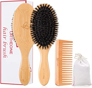 Boar Bristle Hair Brush and Comb Set for Women men and Kids, Best Natural Bamboo Oval Paddle Hair brush wit...