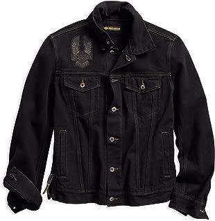 Men's Eagle Appliqué Slim Fit Denim Jacket, Black