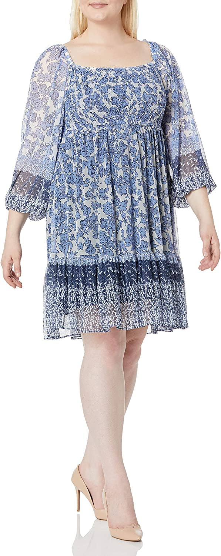 Gabby Skye Women's Plus Size 3/4 Sleeve Square Neck Smocked Bodice Floral Border Print Short Babydoll Mesh Dress