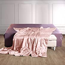 THXSILK 100% Mulberry Silk Throw Blanket for Bed/Couch Top Grade Long-Strand Silk Quilted Bedspread Soft & Cozy (Charming Pink, 53x70 inch)