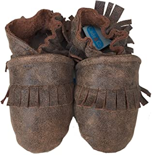 product image for FRINGE MOCS (distressed brown) Handmade in USA, All-Natural Leather Baby Shoes.