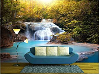 wall26 - Sunlight Through Tree Leaves Lights Beautiful Waterfall in Forest - Removable Wall Mural | Self-Adhesive Large Wallpaper - 66x96 inches